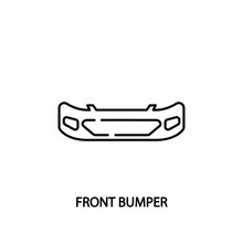 Car Front Bumper Line Icon. Vector Illustrations To Indicate Product Categories In The Online Auto Parts Store. Car Repair.