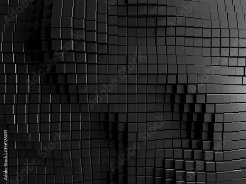 Photo Dark silver cubes. Abstract metallic background. Modern design