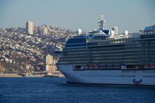 Modern Celebrity Cruises Luxury Cruiseship Or Cruise Ship Liner Celebrity Eclipse In Bay Of San Antonio Or Valparaiso In Chile During South American Cruising In Summer On Blue Sea With Twilight