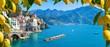Leinwandbild Motiv Small town Atrani on Amalfi Coast in province of Salerno, Campania region, Italy. Amalfi coast is popular travel and holyday destination in Italy. Ripe yellow lemons in foreground.