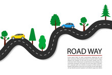 Vector Flat Road Path With Car...