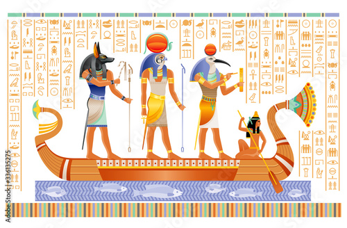 Egyptian papyrus with gods in boat Canvas Print