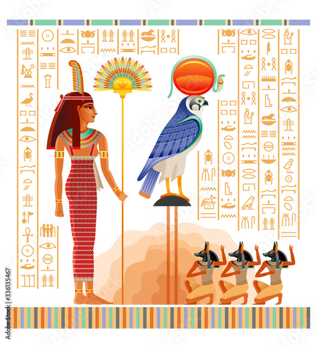 Egyptian papyrus with illustration from Tomb of Nakht in Luxor, afterlife Duat vector Wallpaper Mural