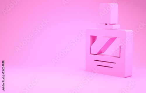 Photo Pink Aftershave icon isolated on pink background