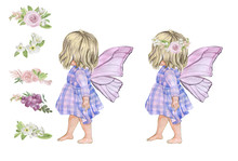 Illustration Of A Blonde Fairy Girl With Wings In A Purple Dress, Set To Create A Fairy