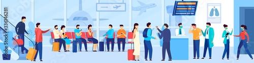 People waiting in airport queue, tourist evacuation from coronavirus epidemic region, vector illustration Canvas Print