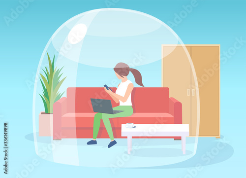 Vector of a woman staying at home working on laptop, self isolated during quaran Fototapete