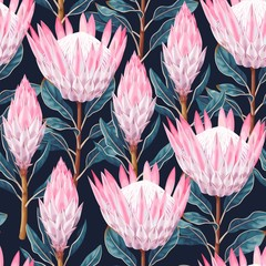 Panel Szklany Egzotyczne Vector seamless pattern with high detailed protea