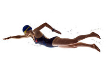 Woman Sport Swimmer Swimming Isolated White Background