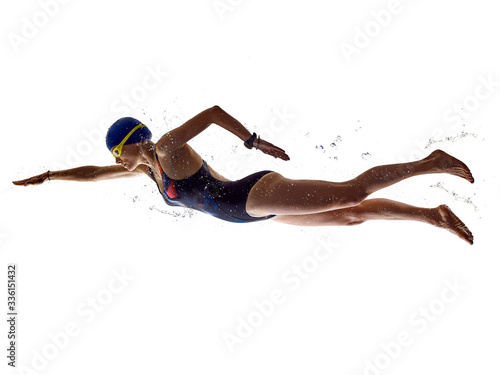 Fotografía woman sport swimmer swimming isolated white background