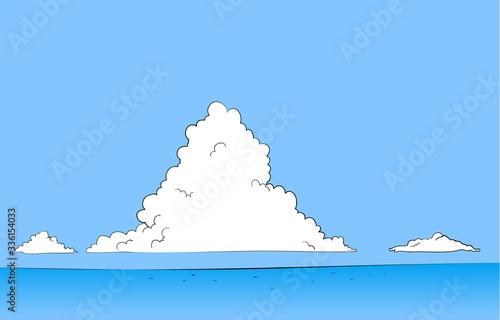 Obraz na plátne 夏の青空と入道雲と海のイラスト