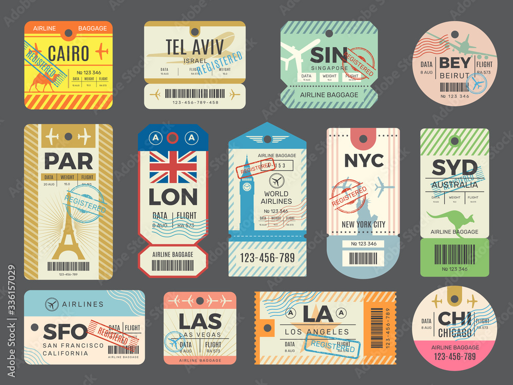 Fototapeta Baggage retro tags. Traveling old tickets flight labels stamps for luggage vector set. Luggage tag ticket, airplane paper baggage card illustration