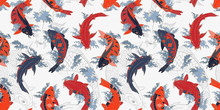 Red And Orange Koi Carps Japan...