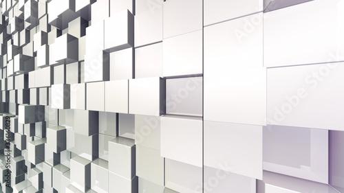 Fototapeta Geometric Box Block Wall Bump 3D illustration abstract background  obraz na płótnie