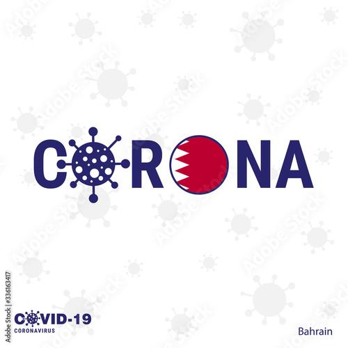 Bahrain Coronavirus Typography. COVID-19 country banner Canvas Print