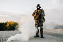 Military Man In A Respirator W...