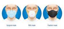 Comparison Of Different Type Face Masks. Vector Set Of N95, Surgical And Fashion Medical Masks. Range Of Virus Protection Masks.