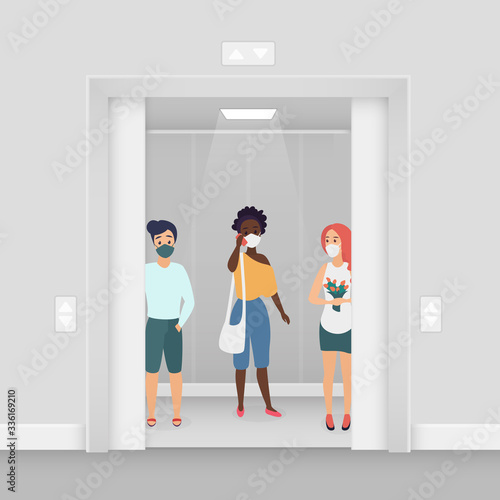 Three women in masks at elevator coronavirus character flat cartoon concept vector illustration. Young women in summer wear stand in masks in elevator. Keep distance covid-19 concept.