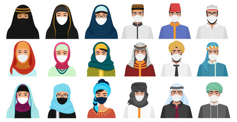 East men and women in masks cartoon flat vector illustration set isolated. Muslim Arabian people in traditional national clothes with protection masks to prevent air pollution, coronavirus covid-19