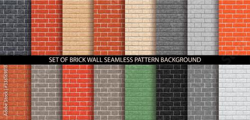 Obraz Brick wall seamless pattern set. Different brick background textures - red, orange, gray, black, brown, green, beige, light colors. Set of seamless brick wall texture. Vector pattern illustration. - fototapety do salonu