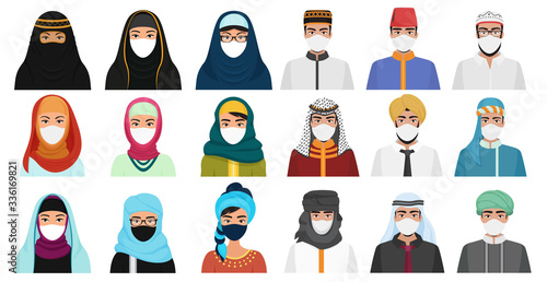 Fototapeta East men and women in masks cartoon flat vector illustration set isolated. Muslim Arabian people in traditional national clothes with protection masks to prevent air pollution, coronavirus covid-19 obraz