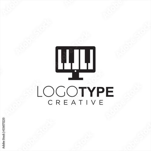 Fotomural Computer Piano Logo silhouette Design Vector