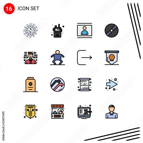 Платно 16 Creative Icons Modern Signs and Symbols of pokeball, film, fire, cinema, phot