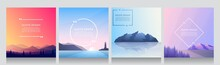 Minimalist Vector Backgrounds Set Of 4 Landscapes. Social Media, Blog Post Templates. Flat Concept Illustration. Evening Scene, Lighthouse Near Water, Rock Island On Ocean, Hills And Forest.