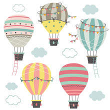 Set Of Isolated Hot Air Balloons Part 2   - Vector Illustration, Eps