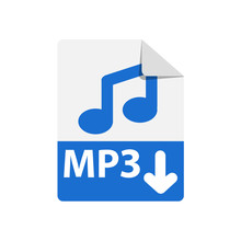 Vector Blue Icon MP3. File Format Extensions Icon. Flat Design Style.