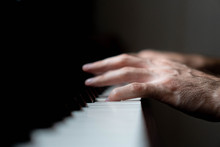 Hands Of A Man Playing The Piano During The Day, Stylish Photo