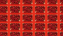 Rows Of Strawberries In Wooden...