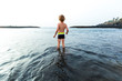 Rear view of Boy at the beach, Adeje, Tenerife, Canarian Islands, Spain