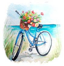 Watercolor Painting Of Vintage Bicycle With Flowers Sketch Art Illustration