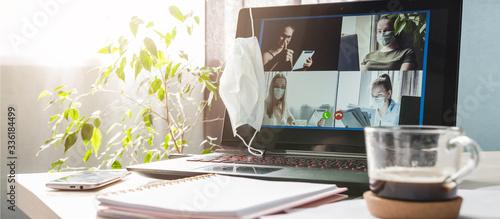 Obraz Coronavirus. Quarantine. Online training education and freelance work remote conference . Computer, laptop and girl gen z studying remotely. Coronavirus pandemic in the world. Closing schools - fototapety do salonu