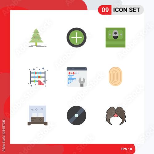 Editable Vector Line Pack of 9 Simple Flat Colors of fingerprint, web page, fina фототапет