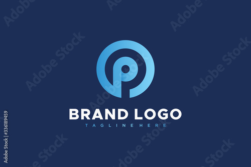 Photo Circular Line Abstract Letter P Logo