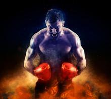 Boxer In Red Gloves On Dark Ba...