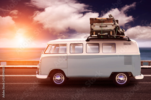 VW with luggage on the roof Wallpaper Mural