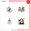4 Creative Icons Modern Signs and Symbols of puzzle, female, puzzle, shopping, business