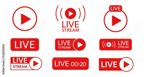 Live stream icon set Fototapeta
