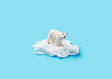 Polar Bear On A Plastic Ice Ov...