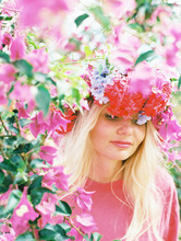 Blonde Woman With Floral Crown...