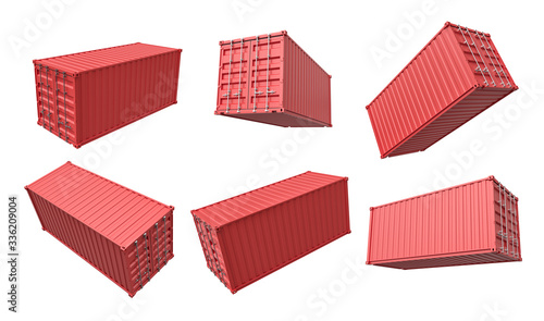 Fotografia 3d rendering of set of closed red cargo container isolated on white background