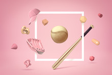 3d Rendering Of Golden Baseball And Bat In Flat White Frame On Pastel Pink Background With Lots Of Different Objects Floating Around.
