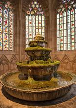 HEILIGENKREUZ, AUSTRIA - 13 FEBRUARY, 2020: Medieval Fountain Of The Cistercian Monastery Heiligenkreuz Abbey In Heiligenkreuz, Austria.