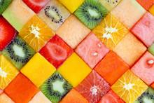 Cubed Fresh Organic Fruit Background
