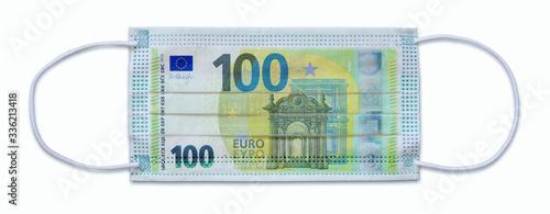 Fotomural Atemschutzmaske mit 100 Euro-Schein