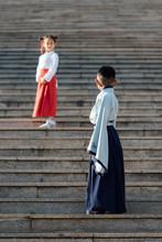 Girl And Boy In Hanfu Clothing...
