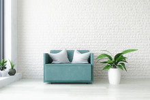 Turquoise Armchair In White In...